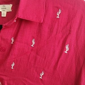 Entro Red Button Down Top Cactus Print Size Small
